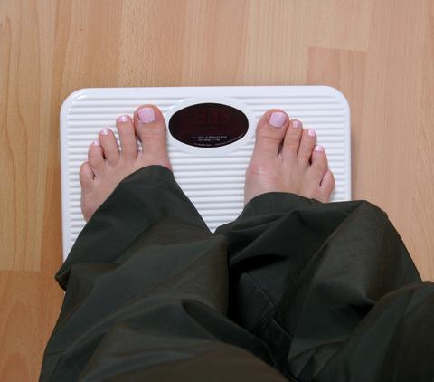 Gewicht messen auf Waage